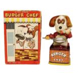 245403ヨネザワ(米澤玩具) ブリキ BURGER CHEF 犬のコックさん 電動