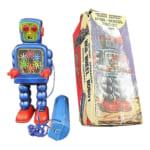 244571吉屋 ブリキ HIGH-WHEEL ROBOT ハイホールロボット 青 電動/電動歩行ブリキ