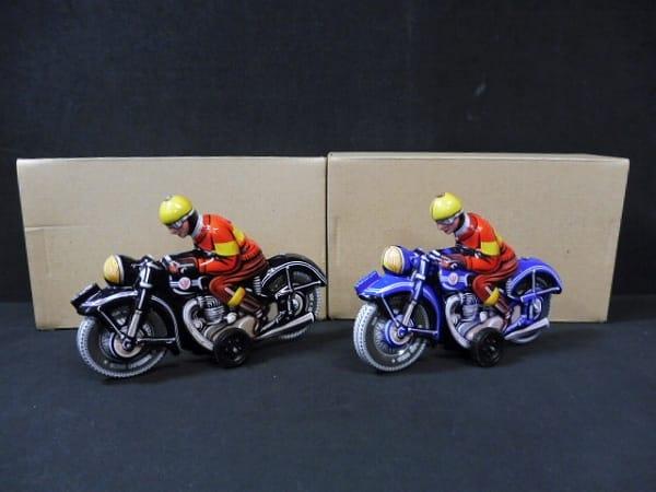 T&W Tin Toy 復刻 フリクション オートバイ青 黒 ブリキ