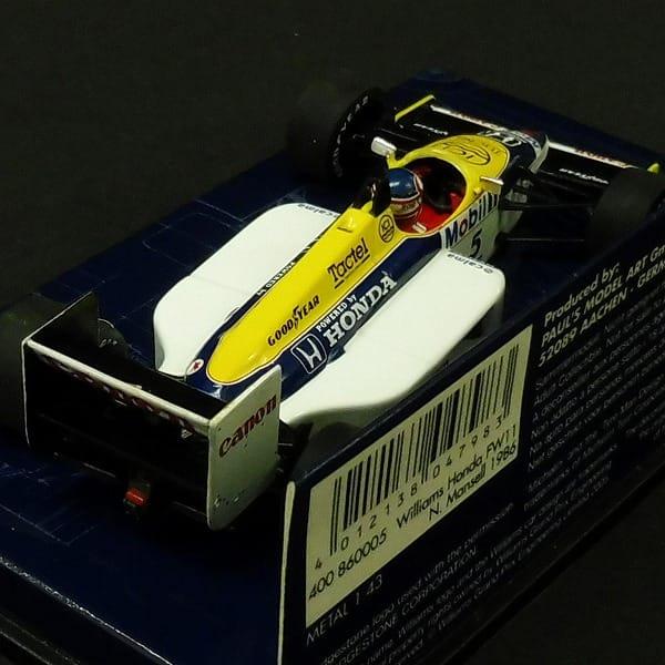 ミニチャンプス 1/43 ウィリアムスFW11 N.マンセル_3
