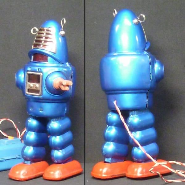 吉屋 プラネットロボット 青 ビンテージ ブリキ 電動_3