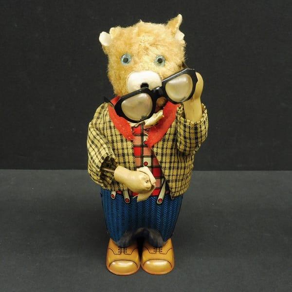 アルプス 眼鏡を拭くクマ ゼンマイ式 当時物 ブリキ