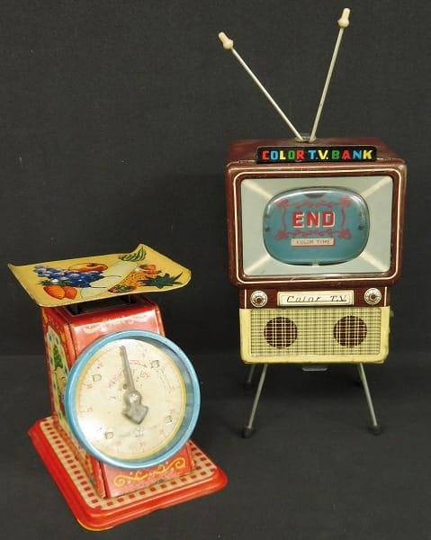 ヨネザワ 万盛 当時 ブリキ はかり カラーテレビバンク