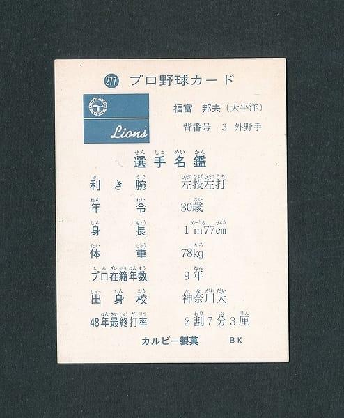カルビー プロ野球カード 1973年 277 福富邦夫_2