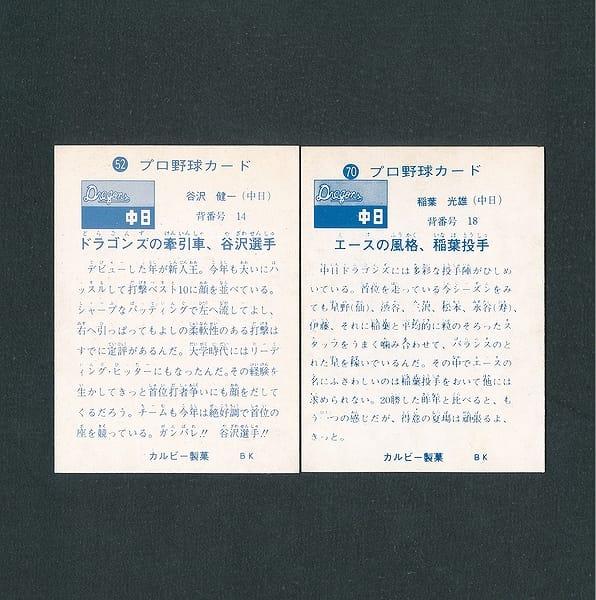 カルビー プロ野球カード 1973年 52 谷沢 70 稲葉 旗版_2