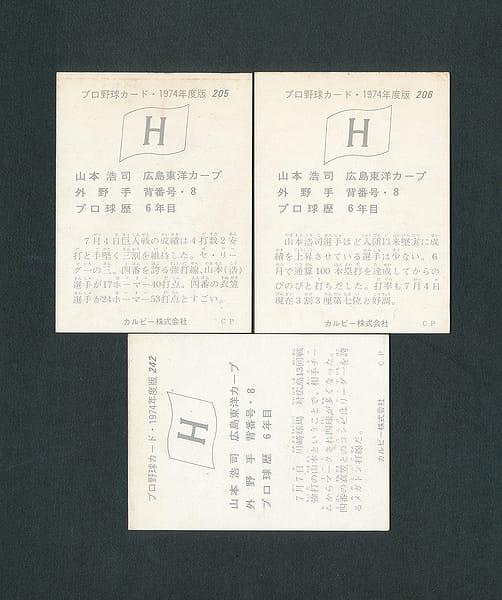 カルビー プロ野球カード 1974年 205 206 242 山本浩二_2