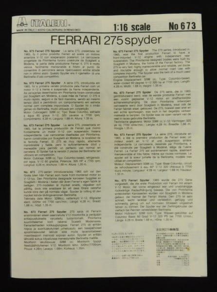 イタレリ 1/24 フェラーリ 275 スパイダー N.A.R.T._2