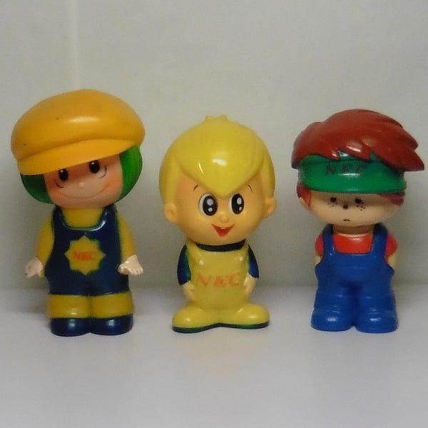 レトロ NEC 坊や 3種 ソフビ人形 貯金箱 企業物