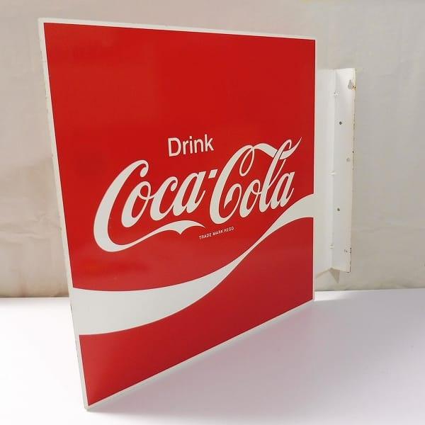 コカコーラ 両面 ホーロー看板 /袖看板 ロゴ 昭和レトロ