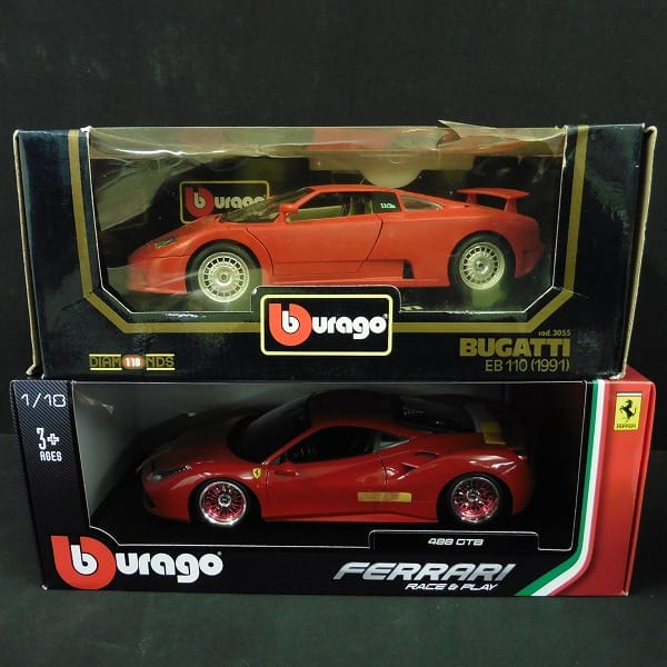 ブラーゴ 1/18 ブガッティ EB110 フェラーリ 488GTB