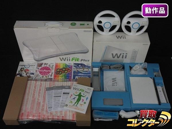 Wii本体 Wii Fit Plus 他周辺機器 + ソフト 各種 マリオカート他