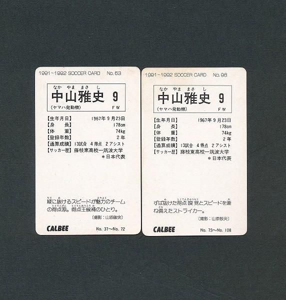 カルビー 日本リーグ サッカー カード 1991 No.63 98 中山雅史_2