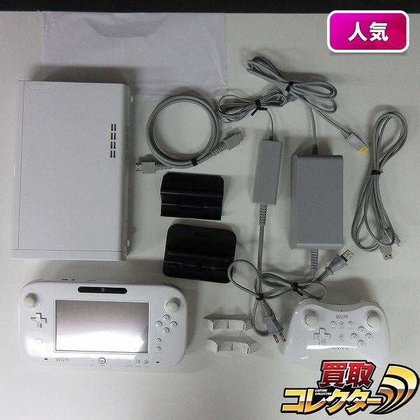 WiiU 白 本体 PROコントローラー 白 ACアダプタ等 付属品_1