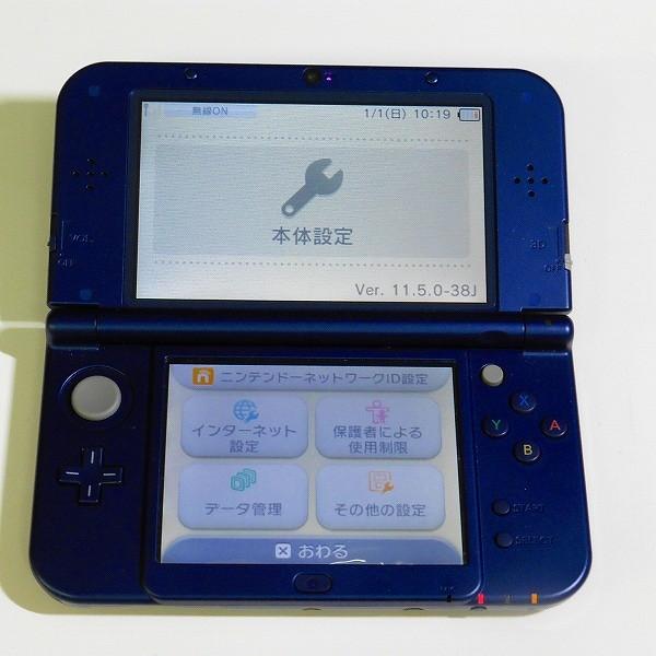 New 3DS LL本体 メタリックブルー 箱説有 + 電源ケーブル ケース_2