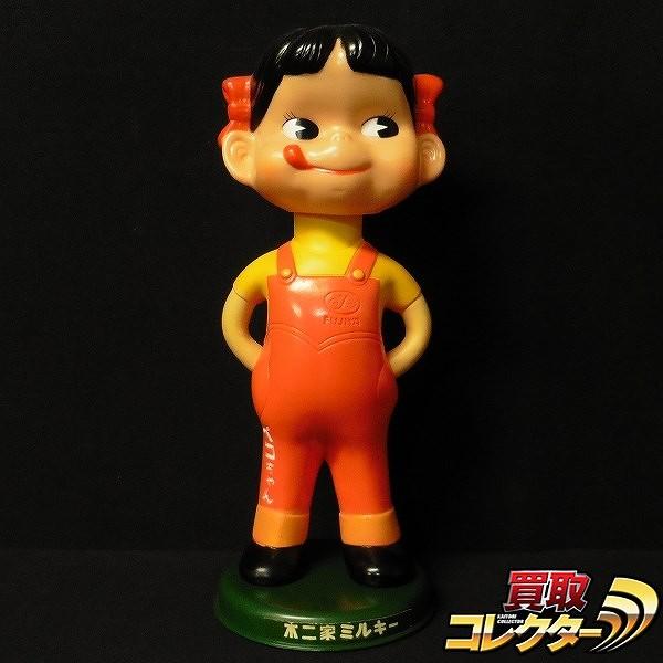 不二家 ペコちゃん 首ふり人形 プラ台座付き 昭和レトロ
