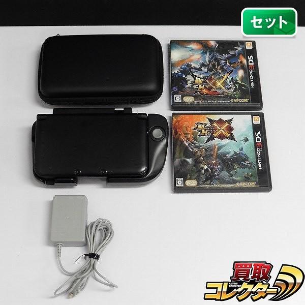 3DS LL ブラック 拡張スライスパッド ハードケース付 & ソフト モンハンX モンハンXX
