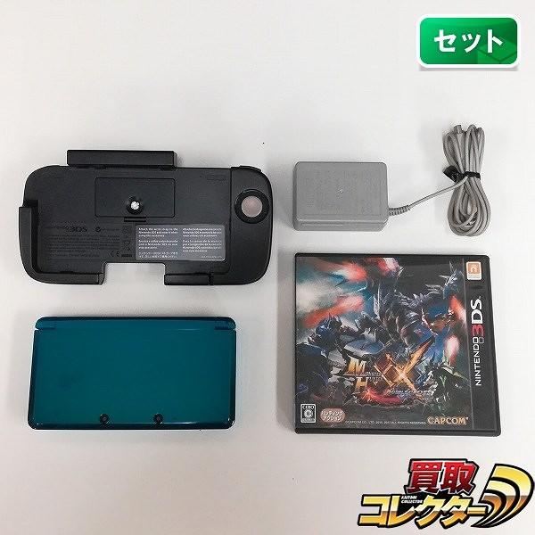 Nintendo 3DS アクアブルー 拡張スライドパッド付 + 3DS ソフト モンスターハンターXX_1